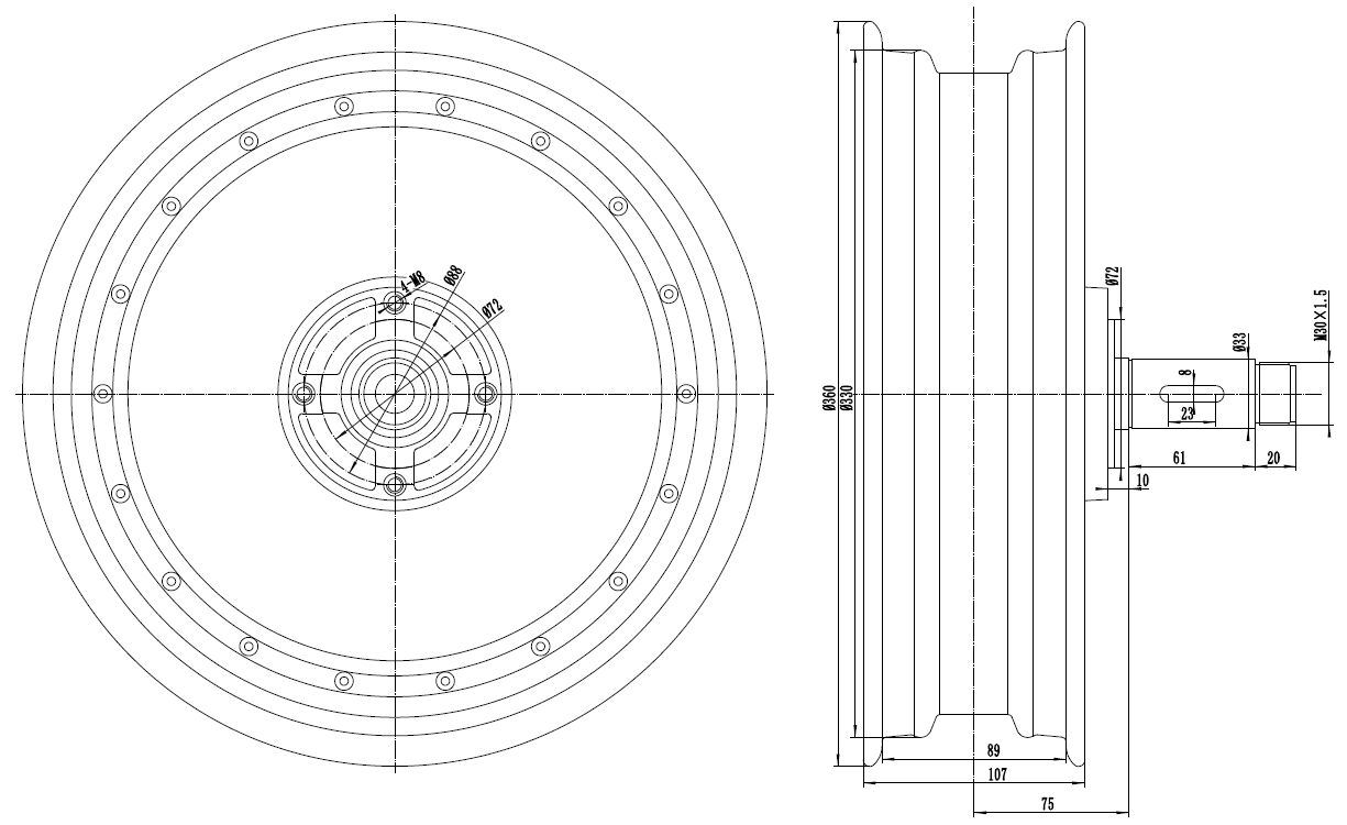 8000w single shaft motor drawing