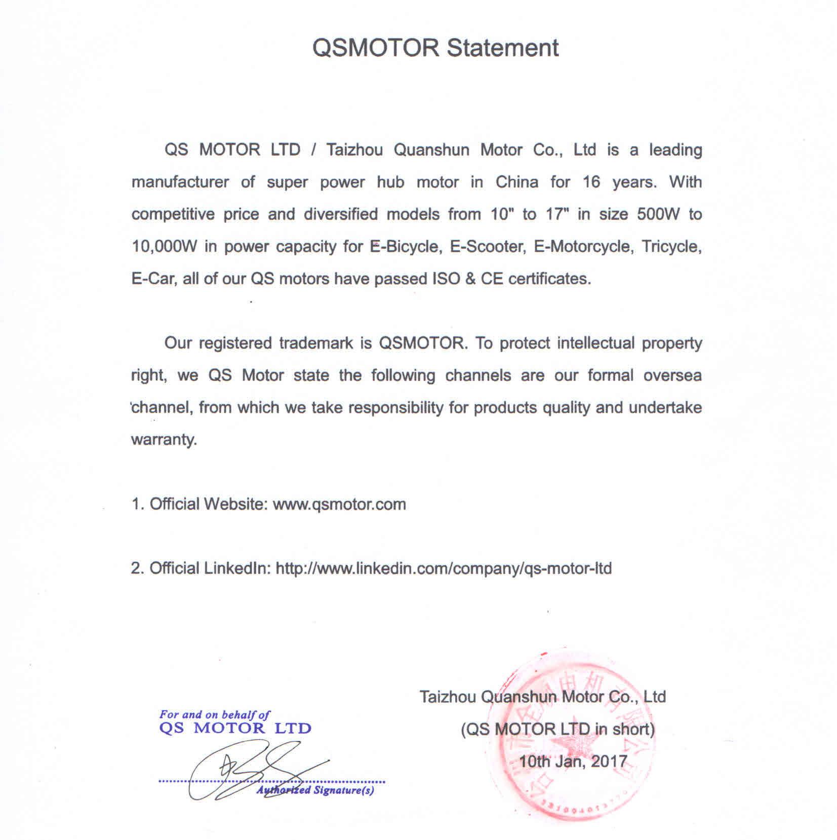 QS Motor Statement